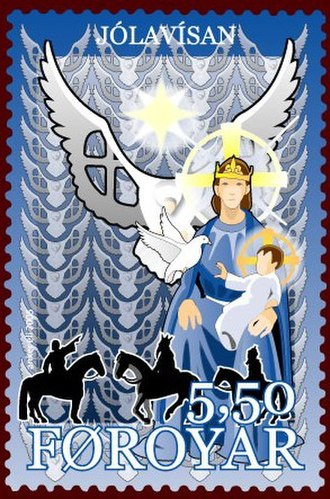 Holy Spirit in Christianity - The Holy Spirit as a dove on a stamp from Faroe Islands.