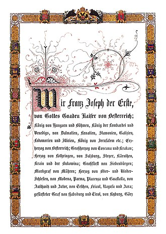 Grand title of the Emperor of Austria - First page of the February Patent of 1861 with the grand title of the emperor