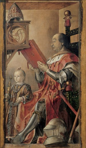 Federico da Montefeltro - Federico da Montefeltro and His Son Guidobaldo (c. 1475), by Justus van Gent or (and) Pedro Berruguete