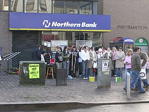 Danske Bank (Northern Ireland) - After 1988, Northern Bank branding changed to a hexagonal 'N' logo, as seen on this branch in Omagh