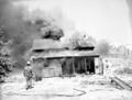 Fire prevention training; demonstration for students of Springdale school. Burning of old Justet home adjacent to Springdale (6cfc7c8e6e6742f6adc5163e403e4805).tif
