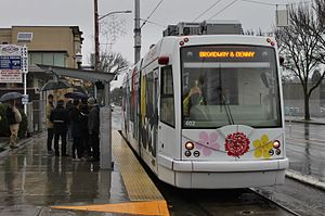First Hill Streetcar 402 at Denny Way after inaugural ride, January 2016.jpg