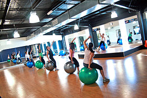Exercise ball - An exercise class using exercise balls.