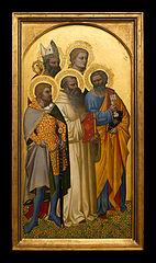 Die hll. Petrus, Julian(?), Stephanus und ein hl. Bischof