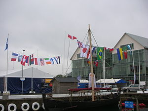 2009 Star World Championships - National flags in Varberg Harbour during the 2009 Star World Championships. Photo taken on 3 August.