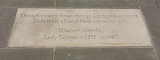 Makars' Court - Image: Flagstone commemorating Elizabeth Melville (c 1578 c 1640), Lady Culross, Makars' Court, Lawnmarket, Edinburgh, Scotland