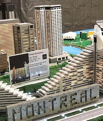Fleur de Lys centre commercial - LUDOVICA Miniland mini blocks exhibition piece at Fleur de Lys centre commercial, in 2018, depicting Montreal′s Olympic Village