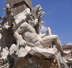 Fontana dei Quattro Fiumi - Fontana dei Quattro Fiumi detail showing the river-god Ganges