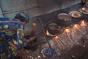 Burkinabé cuisine - Image: Foods being cooked in Burkina Faso, Africa