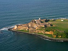 Aerial photo of a fort on the tip of an island