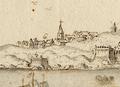 Forte Sam João da Mayo e Villa e Condado de Oeyras - Vista e perspectiva da Barra, Costa e Cidade de Lisboa (Bernardo de Caula, 1763).png