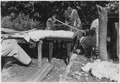 Four adults at work around a table outdoors - NARA - 285194.tif