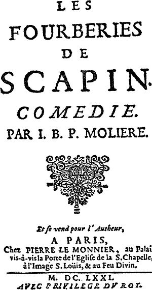Scapin the Schemer - Front page of Les Fourberies de Scapin