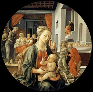 Madonna and Child (Lippi) - Fra Filippo's Madonna with the Child and Scenes from the Life of St Anne, also known as the Pitti tondo. It is closely related to the Uffizi Madonna.