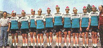 """Joaquim Agostinho - 1970 : Frimatic-Jean de Gribaldy Team, """"le Vicomte"""" de Gribaldy with Joaquim Agostinho"""