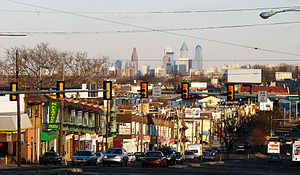 West Chester Pike with the Center City Philadelphia skyline in the background