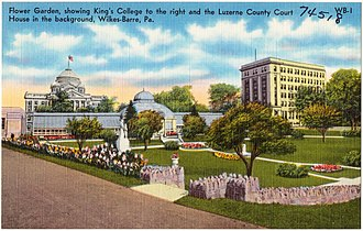 Luzerne County Courthouse - Image: From garden showing King's College to the right and the Luzerne County Court House in the background, Wilkes Barre, Pa (74518)