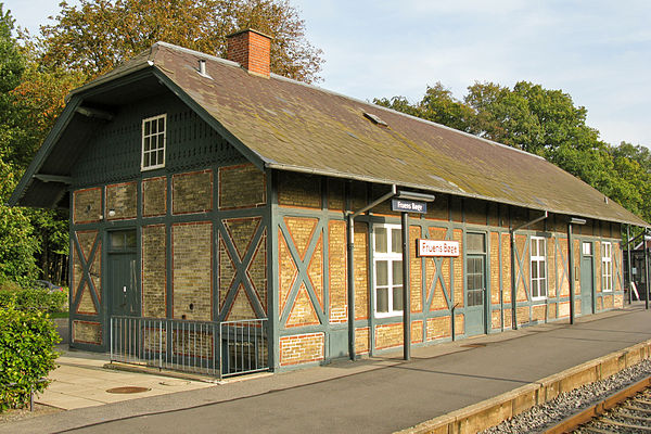 The main building of Fruens Bøge Station from 1876. It is a train station on Svendborgbanen located in Fruens Bøge in Odense, Denmark.