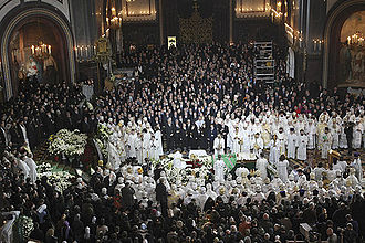 Funeral of Alexy II at the Cathedral of Christ the Saviour on 9 December 2008. Funeral of Patriarch Alexy II-15.jpg