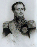 Print of hatless man in military uniform with epaulettes, a decoration, and a sash, with his right hand tucked inside his coat
