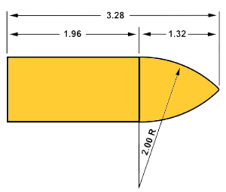 Ballistic coefficient -  G1 shape standard projectile. All measurements in calibers/diameters.