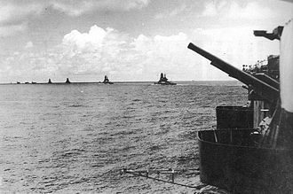 Indian Ocean raid - The Japanese strike force advancing to the Indian Ocean. Ships shown from left to right are: Akagi, Soryu, Hiryu, Hiei, Kirishima, Haruna, and Kongo. Taken from Zuikaku, March 30