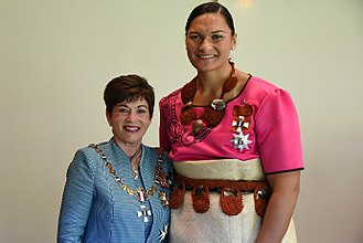 Valerie Adams - Adams (right) in 2017, after her investiture as a Dame Companion of the New Zealand Order of Merit by the governor-general, Dame Patsy Reddy