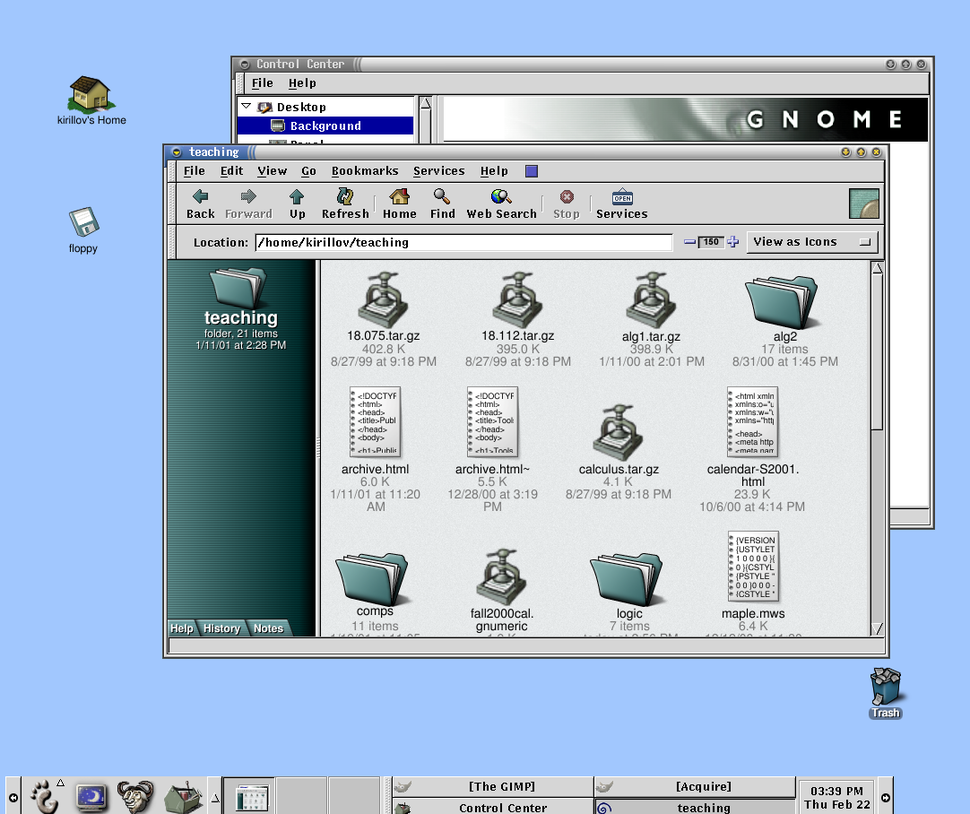 GNOME 1.0 (1999, 03) with GNOME Panel 1 and File Manager
