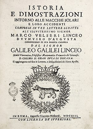 Letters on Sunspots - Frontespiece of Letters on Sunspots