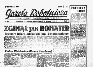 """Polish People's Party """"Nowe Wyzwolenie"""" - The Workers' Gazette, 1947, Katowice with orders from the Ministry of Defence"""