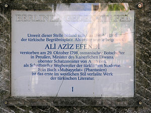 Giritli Ali Aziz Efendi - Memorial plaque for Ali Aziz Efendi and the former Turkish cemetery (at this place) in Berlin-Kreuzberg