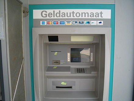 An ATM in the Netherlands. The logos of a number of interbank networks to which it is connected are shown. Geldautomaat.jpg