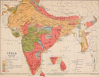 Geology of India - Image: Geological map of India 1911