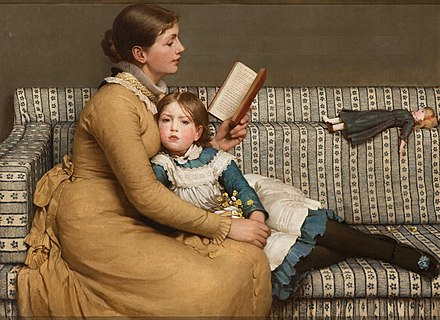 Painting of a mother reading Alice's Adventures in Wonderland to her daughter. George Dunlop Leslie, 1879 George Dunlop Leslie - Alice in Wonderland.jpg