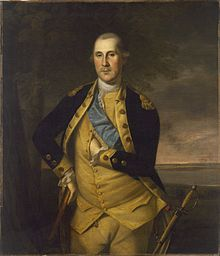 Formal painting of General George Washington, standing in uniform, as commander of the Continental Army