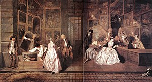A Private View at the Royal Academy, 1881 - Watteau, L'Enseigne de Gersaint (1720)