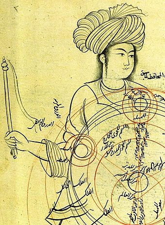 Extract from a medieval manuscript by Qotbeddin Shirazi (1236-1311), a Persian astronomer, depicting an epicyclic planetary model Ghotb2.jpg