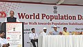 """Ghulam Nabi Azad addressing the Flag off Ceremony of """"The Walk towards Population Stabilization"""", on the occasion of World Population Day, in New Delhi. The Minister of State for Health & Family Welfare.jpg"""