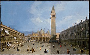 Piazza San Marco - Piazza San Marco with the Basilica (1720) by Canaletto.
