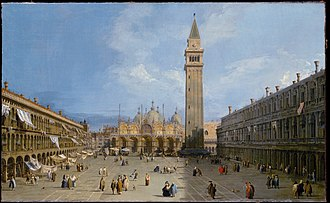 St Mark's Campanile - A painting of the Piazza San Marco with St Mark's Basilica and the original campanile, by Canaletto, 1720