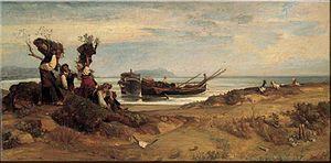 Giovanni Costa - Giovanni Costa, Donne che imbarcano legna a Porto d'Anzio, painted 1850–52; now in the Galleria nazionale d'arte moderna, Rome