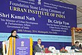 Girija Vyas addressing at the foundation stone laying ceremony of the Urban Institute of India, in New Delhi. The Union Minister for Urban Development & Parliamentary Affairs, Shri Kamal Nath and the Secretary.jpg