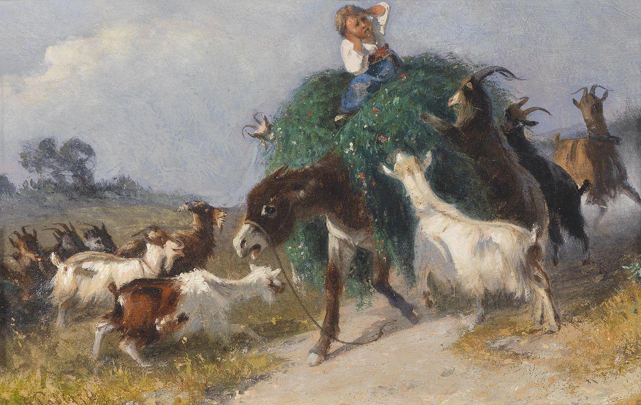 Giuseppe Palizzi Ziegen erobern einen Heuwagen.jpg