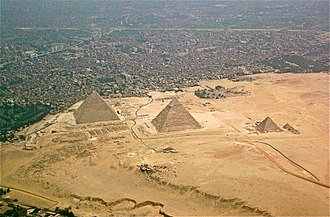 Pyramid - The Egyptian pyramids of the Giza Necropolis, as seen from the air