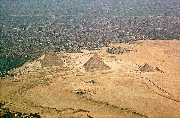 Giza pyramid complex seen from above Giza-pyramids.JPG