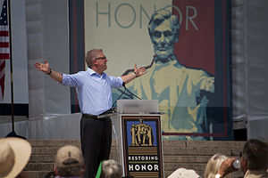 Glenn Beck - Beck during his religiously-themed speech at the Restoring Honor rally on August 28, 2010.