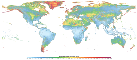 Global map of wind speed at 100 m above surface level. Global Map of Wind Speed.png