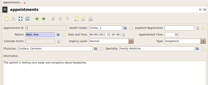 GNU Health - Appointments - Form
