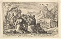 God enters into a covenant with Noah- next to a smoking pyre Noah kneels in a gesture of prayer, surrounded by members of his family, a rainbow stretches over them, from a series of engravings for the 'Liber Genesis' MET DP828362.jpg