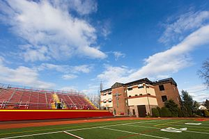 Chaminade High School - Chaminade's new Marianist Cross, Physical Fitness Center, and Gold Star Stadium from Ott Field
